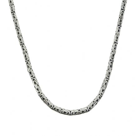 Ladies 925 Silver Borobudur Necklace - 3mm Byzantine Link